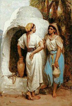 Peinture d'Algérie - Peintre Français, Hippolyte Lazerges(1817-1887), Huile sur toile 1879 , Titre : Femmes au puits  à Alger.