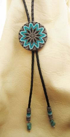 Beaded Bolo tie by AuthenticNativeMade  Sharolyn Maleport-Wester, Sault Ste Marie) on Etsy
