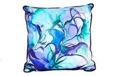 Silk Pillow with Original Watercolor Pattern by KarenKeoughDesigns Silk Art, Painted Silk, Silk Pillow, Watercolor Pattern, Fabric Painting, Paintings, Throw Pillows, The Originals, Paper