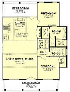 Modern Farmhouse Plan: 1,257 Square Feet, 2 Bedrooms, 2 Bathrooms - 041-00227 2 Bedroom House Plans, Porch House Plans, Cottage Floor Plans, Cottage House Plans, New House Plans, Small House Plans, Cottage Homes, House Floor Plans, Cottage Ideas