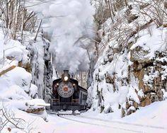 "Beautiful Nature and a gorgeous ""Steam Train"". Locomotive Diesel, Steam Locomotive, Winter Szenen, Winter Magic, Old Trains, Winter Pictures, Train Tracks, Winter Landscape, Belle Photo"