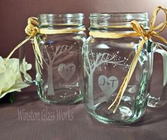 Rustic Blooming Tree Mason Jar Mugs by winstonglassworks- I wish I could add these to the registry!