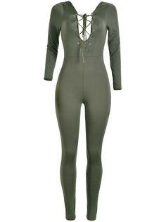Fashionmia - Fashionmia Deep V-Neck Backless Lace-Up Remarkable Plain Slim-Leg Jumpsuit - AdoreWe.com