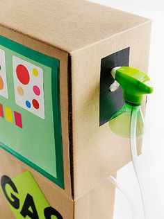 such a cute activity especially for the cars loving little kids. cardboard box gas pump