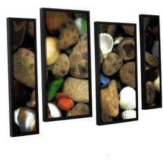 ArtWall Kevin Calkins Petoskey Stone Collage Iii 4-Piece Floater Framed Canvas Staggered Set, Size: 24 x 36, Brown