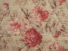 Antique French whole cloth quilt 1890 hand stitched boutis lovely faded floral