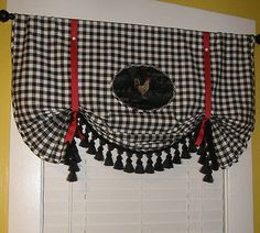 French-Country-Red-Tie-Up-Black-Rooster-Plaid-Check-Valance-Curtain-Tassel-Trim