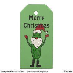 Funny Pickle Santa Claus Christmas Gift Tags Gift Tag