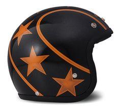 "Helmet from DMD ""Stunt"" orange stripes & stars, based on a decent stardust black paint."
