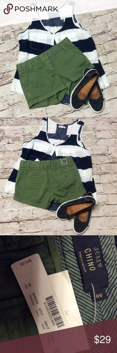 "J. CREW GREEN CHINO SHORTS Brand new with tags, these cute shorts are a perfect addition to your summer wardrobe. Great color to match with tons of your favorite tops. Measurements lying flat Waist 14"" length 10"" J. Crew Shorts"