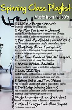 Need a playlist idea for your next group cycling class? Take your Spinning class back to the with this selection of rock music. You'll ride over two big hills…great variety, good bike workout. / A Daily Dose of Fit Source by Spin Class Routine, Spin Playlist, Exercise Playlist, Playlist Music, Sport, Spin Bike Workouts, Song Workouts, Cheer Workouts, Morning Workouts
