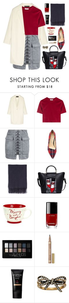 """""""Merry and Bright ❄️"""" by celida-loves-pink ❤ liked on Polyvore featuring Donna Karan, WithChic, Acne Studios, Chanel, Maybelline, Smashbox and Marc Jacobs"""