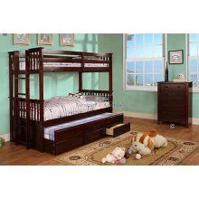 University II Espresso Finish Twin/Twin Bunk Bed w/ Twin Trundle w/ 3