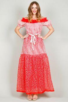 Floral Print 70s Red Maxi Dress   Ela Hawke Vintage   #elahawkevintage #vintage #dress