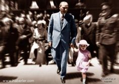 Atatürk and adopted daughter Ülkü Adatepe Republic Of Turkey, The Republic, Turkish Army, The Legend Of Heroes, The Turk, Ulsan, Great Leaders, Hipster, Couple Photos