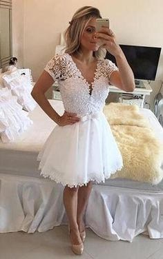XH79 Short sleeve homecoming dress, see through homecoming dress, tull – FashionDressGallery