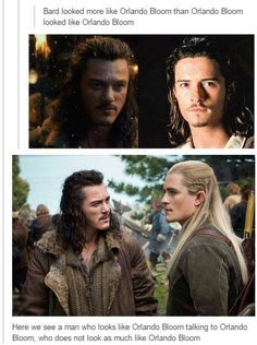 when I first saw bard I was like oh Orlando Bloom must want to be in the Hobbit even though legolas isn't in the Book. *legolas shows up* WHAT? Into The West, Into The Fire, Narnia, Lotr, Fandoms, Johny Depp, O Hobbit, Hobbit Films, J. R. R. Tolkien