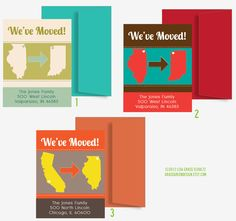 We've Moved With Heart Over City State - 25 Custom Moving Announcement Cards. $30.00, via Etsy.