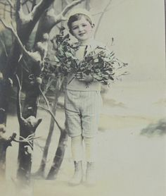 French New Year Postcard Young Boy with Holly and Mistletoe