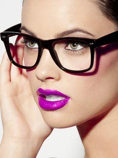 Purple lipstick and great glasses