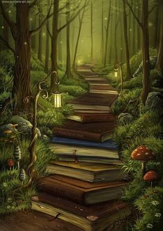 Love this picture! And I love books. With books I have traveled the world - I've spent time in Antarctica - I've climbed mountains and dived the oceans. I can't imagine a world without the wonder of books! Fantasy Kunst, Wow Art, Pics Art, Fantasy World, Fantasy Books, Fantasy Forest, Fantasy Places, Fantasy Fiction, Fantasy Artwork