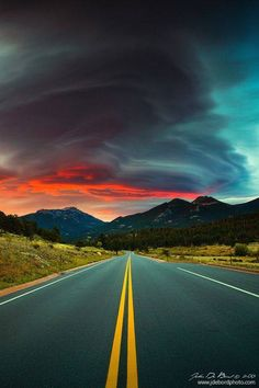 Prophetic Memories by kkart on deviantART lenticular clouds in autumn, Rocky Mountain National Park at sunrise, Colorado Beautiful Roads, Beautiful Sky, Beautiful Landscapes, Beautiful World, Beautiful Places, Landscape Photography, Nature Photography, Photography Studios, Photography Backgrounds