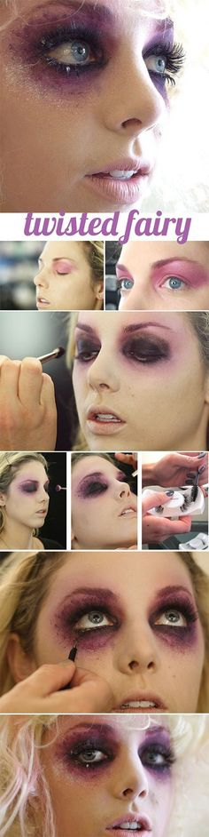 Halloween-Make-up-Take your fairy costume to the next level with this twisted fairy makeup tutorial. Looks Halloween, Amazing Halloween Makeup, Halloween 2018, Women Halloween, Fall Halloween, Awesome Makeup, Halloween Fashion, Halloween Nails, Maquillage Halloween Zombie