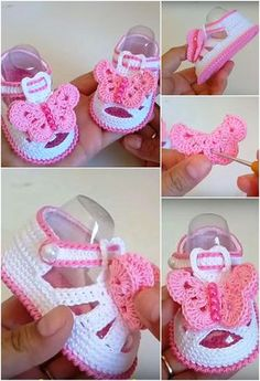 Diy Crafts - -Crochet Baby Girl Shoes With Butterfly Crochet baby shoes always looks very beautiful and lovely. Today you have a chance to make adorab Baby Girl Sandals, Crochet Baby Sandals, Crochet Baby Boots, Booties Crochet, Baby Girl Crochet, Crochet Baby Clothes, Crochet Shoes, Crochet Slippers, Baby Girl Shoes
