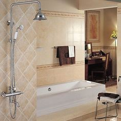 6 Inch Antique Nickel Brushed Brass Shower Head with Hand Shower: Amazon.co.uk: Kitchen & Home