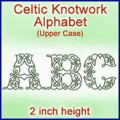 A Celtic Knotwork Alphabet Design Pack 2 Inch Height