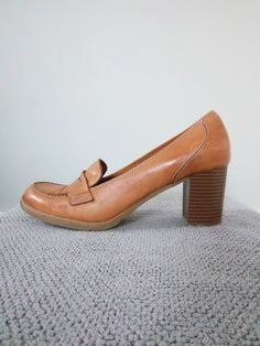Vintage Leather Loafer Heels by Bass $36