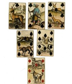 Six playing-cards from a numerical series, with French suit-marks. The cards are the 7 of diamonds, 7 and 10 of spades, and 2, 4 and 7 of clubs.The cards represent animals in landscapes, and they may have been used to afford instruction in natural history. On each of the cards is a printed monogram, the letter S intersected by the letter I (not mentioned in Willshire).Hand-coloured etching Backs plain Early 18th Century