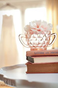 pink glass and rose for book lovers