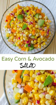 Easy Corn and Avocado Salad with corn, avocado, red onion, sweet bell pepper and a dressing of oil and white wine vinegar - flavours blend so nicely Avocado Salad Recipes, Healthy Salad Recipes, Real Food Recipes, Cooking Recipes, Lean Recipes, Avocado Salat, Best Side Dishes, Stuffed Sweet Peppers, Side Salad