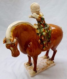 Vintage Chinese Tang Dynasty Style Porcelain Horse Statue with Rider