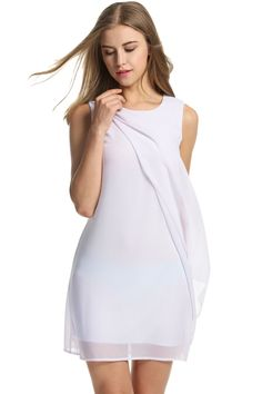 Meaneor White Womens Summer Sleeveless Chiffon A-Line Cocktail Party Casual Dresses