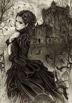 Drawn by Victoria Frances in 2011, (goth inspired I think) but to me it looked like she stepped straight out of Austen or Bronte