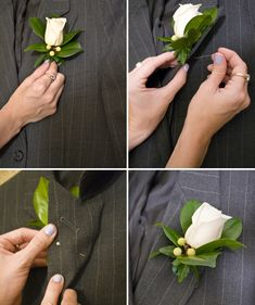 How to pin a Boutonniere-- no one seems to know how to do this on the wedding day! Haha!