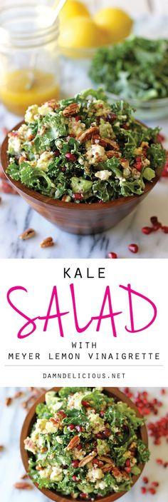 Kale Salad with Meyer Lemon Vinaigrette - Perfect as a light lunch or even a…
