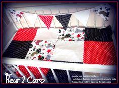 DISPO IMMEDIAT-MAXI COUVERTURE PLAID FACON PATCHWORK-OH HE MATELOT ! bleu marine-rouge-blanc : Linge de lit enfants par fleur-2-caro