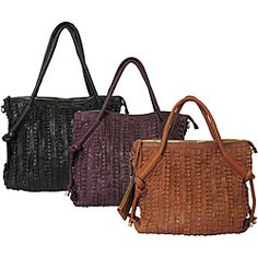 """@Overstock - The """"Echo"""" handbag/shoulder bag is inspired by nature. Imagine forest foliage and honeycombs. It is a bag that signifies the sweetness of life.http://www.overstock.com/Clothing-Shoes/Amerileather-Echo-Leather-Shoulder-Bag/6378867/product.html?CID=214117 $55.99"""