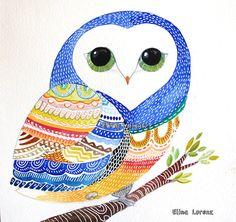 Blue OwlNursery Decor Girl Nursery  Boy Nursery  by sublimecolors, $44.99