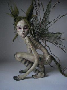 "SHADOWSCULPT ooak fairy fantasy art doll sculpture 12"" figurine polymer clay one of a kind. £230.00, via Etsy."