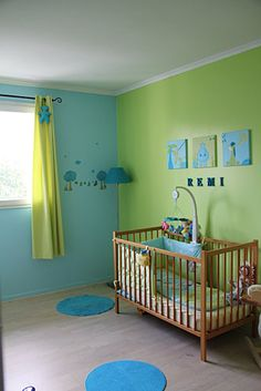 jolie ambiance chambre bb turquoise - Chambre Fille Vert Pastel