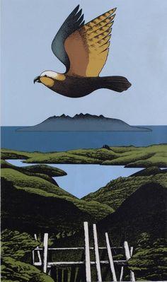 Kaiaraka Kaka, Great Barrier screenprint by Don Binney, NZ. (1982) Sold for 3000NZD.