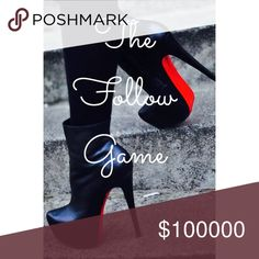 Like, Share, & Follow! It's a new Follow Game!! Follow me, like and share this post, & follow everyone that follows you!! Check back weekly to follow new poshers!  Happy Poshing! Follow Game Other
