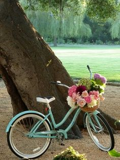 Like the teal bike with the basket of flowers