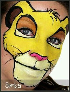 Simba , Animals face painting ideas for kids.