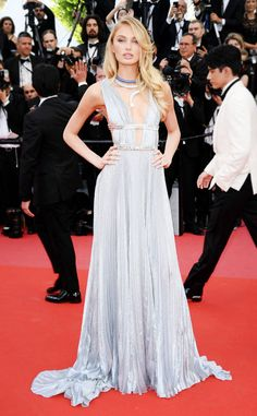 Romee Strijd from Cannes 2018: Best Dressed Stars In a silver Alberta Ferretti gown and Bvlgari Jewels.