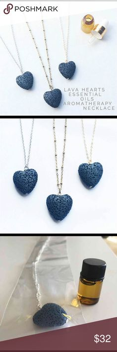 Lava Heart Diffuser Necklace- Gold or Silver Comes w/ 75 drops of essential oils in stock. Msg me to see what is available. 1 drop on stone & just breathe. Lasts up to 3 days.  Only stones known to have its physical origins from fire. Contain the powerful energy of the volcano that created them. Excellent to aid healing, such as feeling depressed or lacking energy & vitality. #diffuser #charm #natural #beads #grounding #strength #balance #courage #pendant #aromatherapy #therapeutic Jewelry…